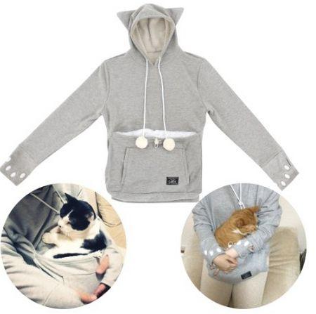 """Mewgaroo cat or dog carrier hoodie, <a href=""""http://www.amazon.com/Mewgaroo-Hoodie-Nyangaroo-UNIHABITAT-carriers/dp/B00XOPDEV"""