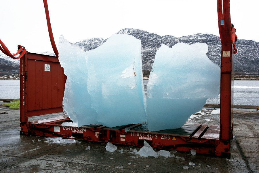 Loading ice at Nuuk Port and Harbour, Greenland.