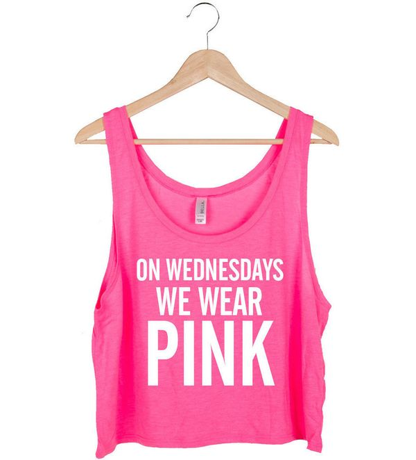 "Pink Crop Top, $21.79 at <a href=""https://www.etsy.com/listing/223371206/on-wednesdays-we-wear-pink-crop-top?utm_source=googl"