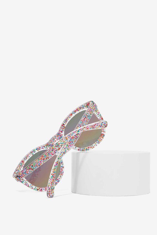 "Glitter Fest Rainbow Shades, $20 at <a href=""http://www.nastygal.com/gifts-all-things-glitter/glitter-fest-rainbow-shades"" ta"
