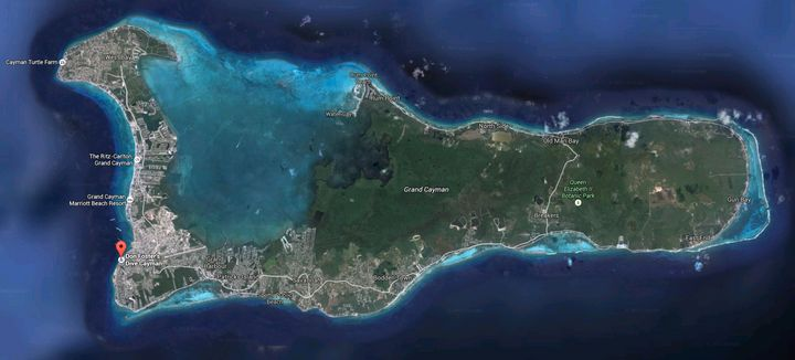The area where the video was allegedly shot is near this red flag along Grand Cayman's southwest tip. It's marked as a m