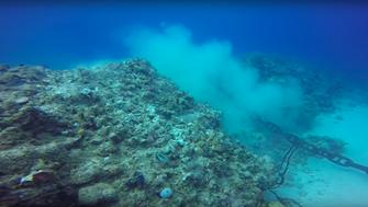 As the divers film the anchor and chain, it moves several times, further tearing up the reef.