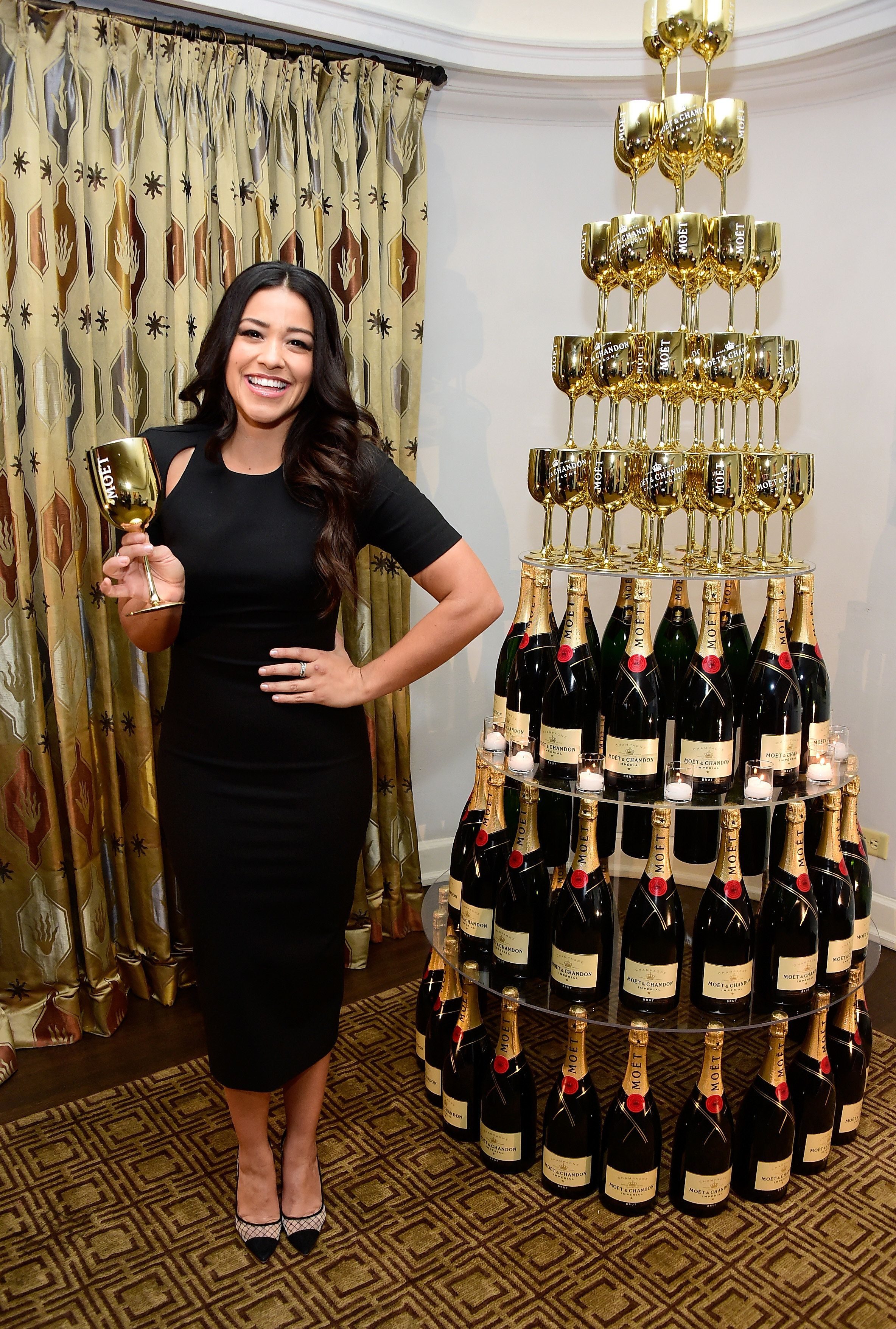 LOS ANGELES, CA - DECEMBER 08:  Actress Gina Rodriguez attends Moët & Chandon and 2015 Golden Globe winner Gina Rodriguez celebrate Moets 25th Anniversary at the Golden Globes with the launch of The Moët Moment Film Festival Competition at the Chateau Marmont in Los Angeles on December 8, 2015 in Los Angeles, California.  (Photo by Frazer Harrison/Getty Images for Moet & Chandon)