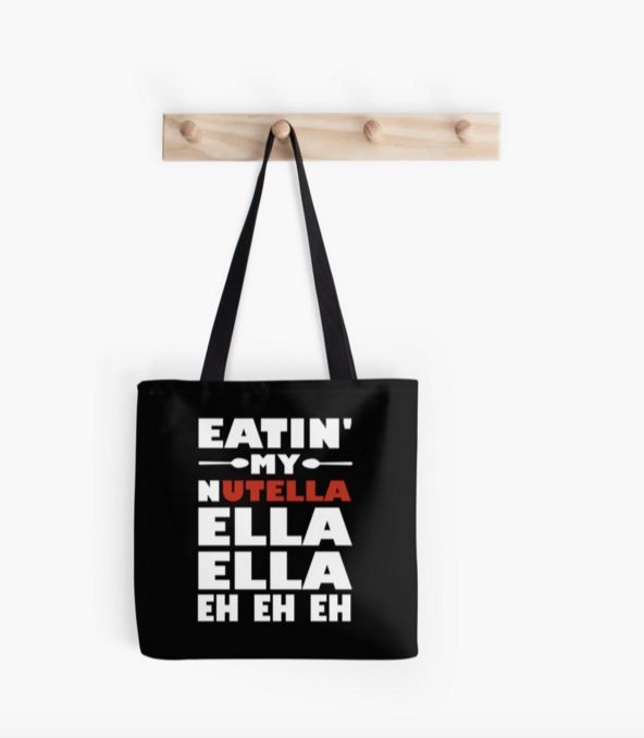 "Eatin' Nutella Tote, $17.20 at <a href=""http://www.redbubble.com/people/evahhamilton/works/14608701-eatin-my-nutella-ella-ell"