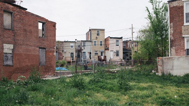 A large number of buildings in the Sandtown-Winchester neighborhood are in a state of disrepair.