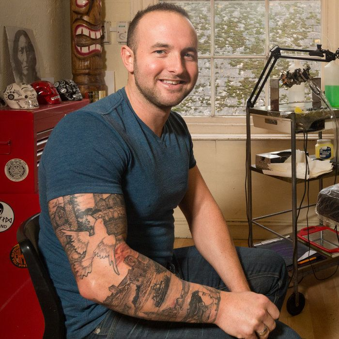 Michael Laity has spent more than 28 hours of getting ink done to present Cornwall's iconic sites on his arm.