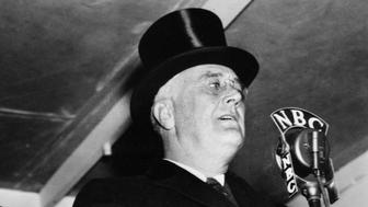 PRESIDENT FRANKLIN D. ROOSEVELT -- Pictured: (l-r) Secretary of War Harry Hines Woodring, President Franklin D. Roosevelt in 1938 -- (Photo by: NBC/NBCU Photo Bank via Getty Images)