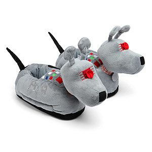"""Doctor Who K9 slippers, <a href=""""http://www.thinkgeek.com/product/12b9/"""">$9.99</a>, ThinkGeek"""