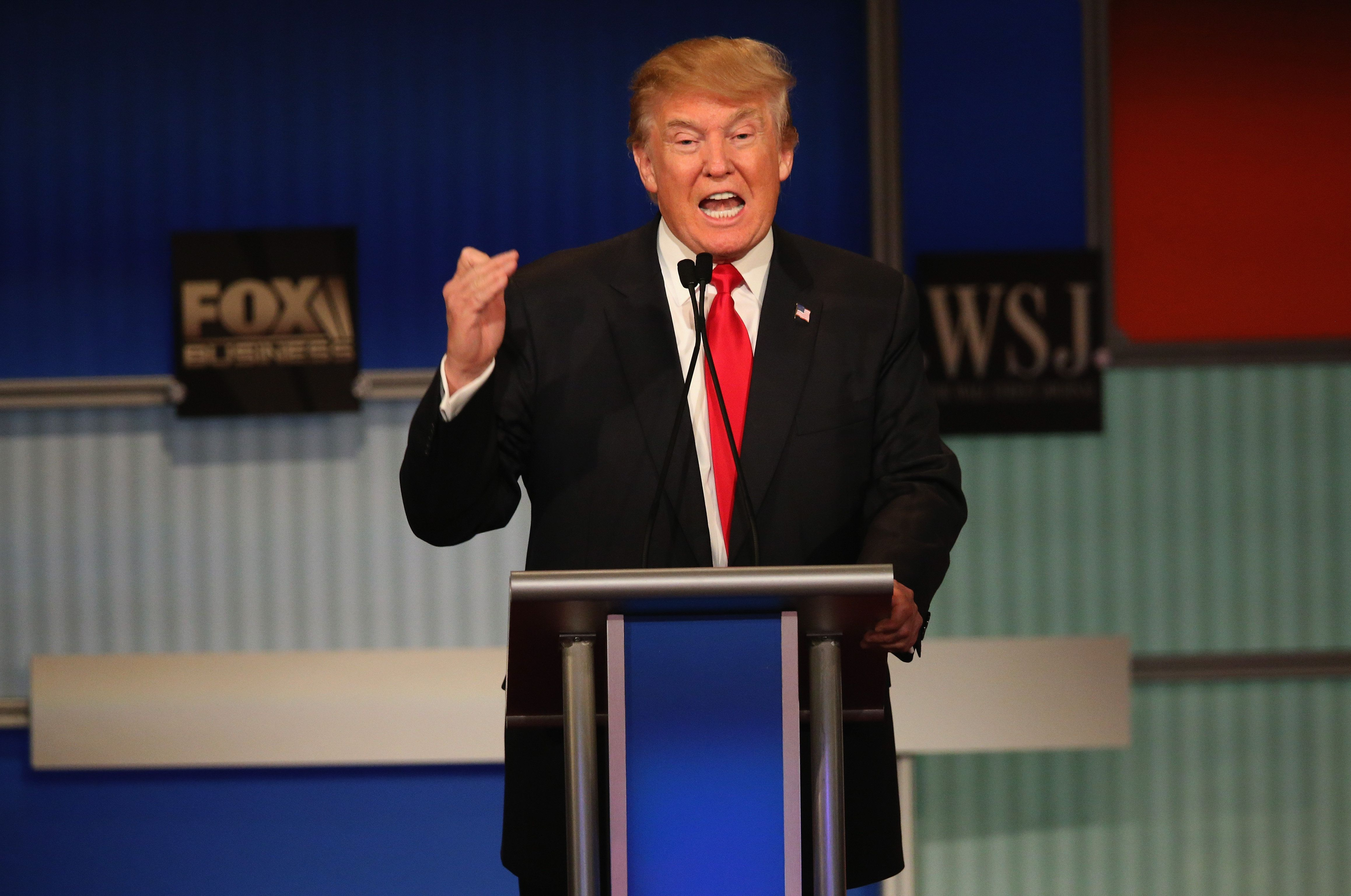 MILWAUKEE, WI - NOVEMBER 10:  Presidential candidate Donald Trump speaks during the Republican Presidential Debate sponsored by Fox Business and the Wall Street Journal at the Milwaukee Theatre November 10, 2015 in Milwaukee, Wisconsin. The fourth Republican debate is held in two parts, one main debate for the top eight candidates, and another for four other candidates lower in the current polls.  (Photo by Scott Olson/Getty Images)