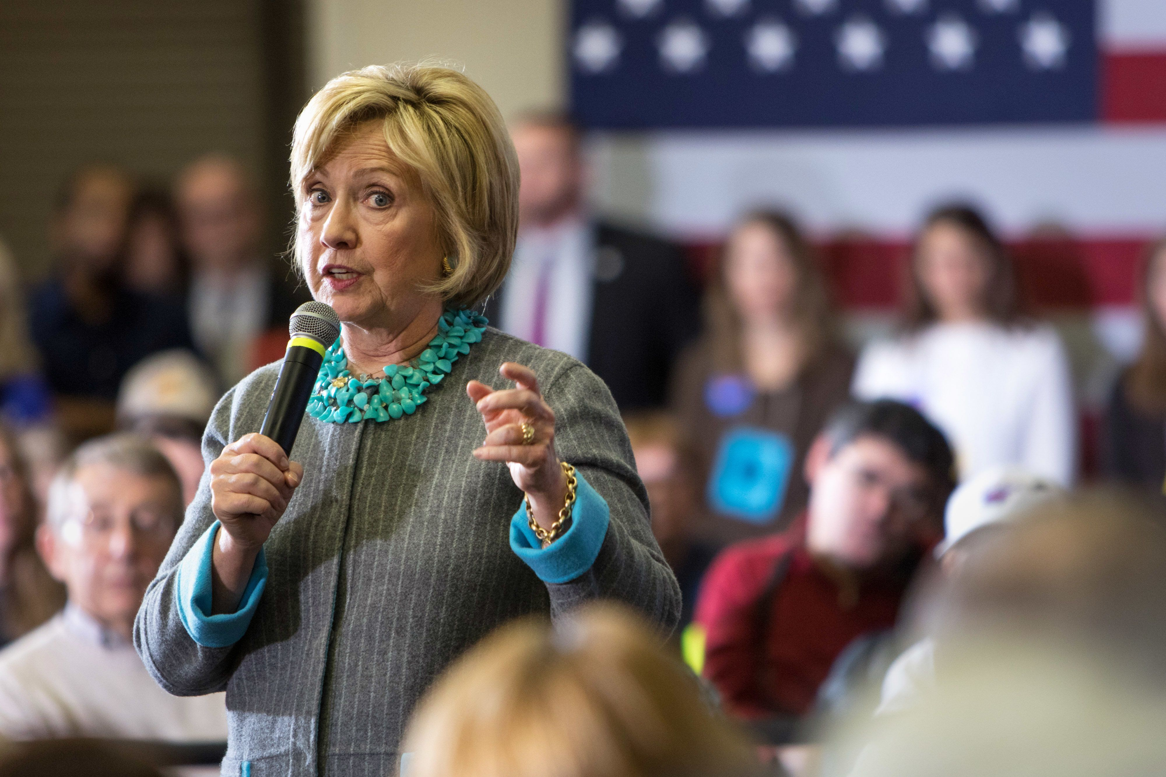 Hillary Clinton, former Secretary of State and 2016 Democratic presidential candidate, speaks during a town hall meeting in Waterloo, Iowa, U.S., on Wednesday, Dec. 9, 2015. Clinton will unveil proposals to deter U.S. companies from shifting profits overseas, including an 'exit tax' to penalize companies that perform so-called tax inversions, a campaign official said. Photographer: Scott Morgan/Bloomberg via Getty Images