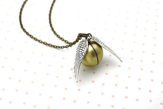 "Harry Potter Golden Snitch locket necklace, <a href=""https://www.etsy.com/listing/255677725/harry-potter-golden-snitch-locket"