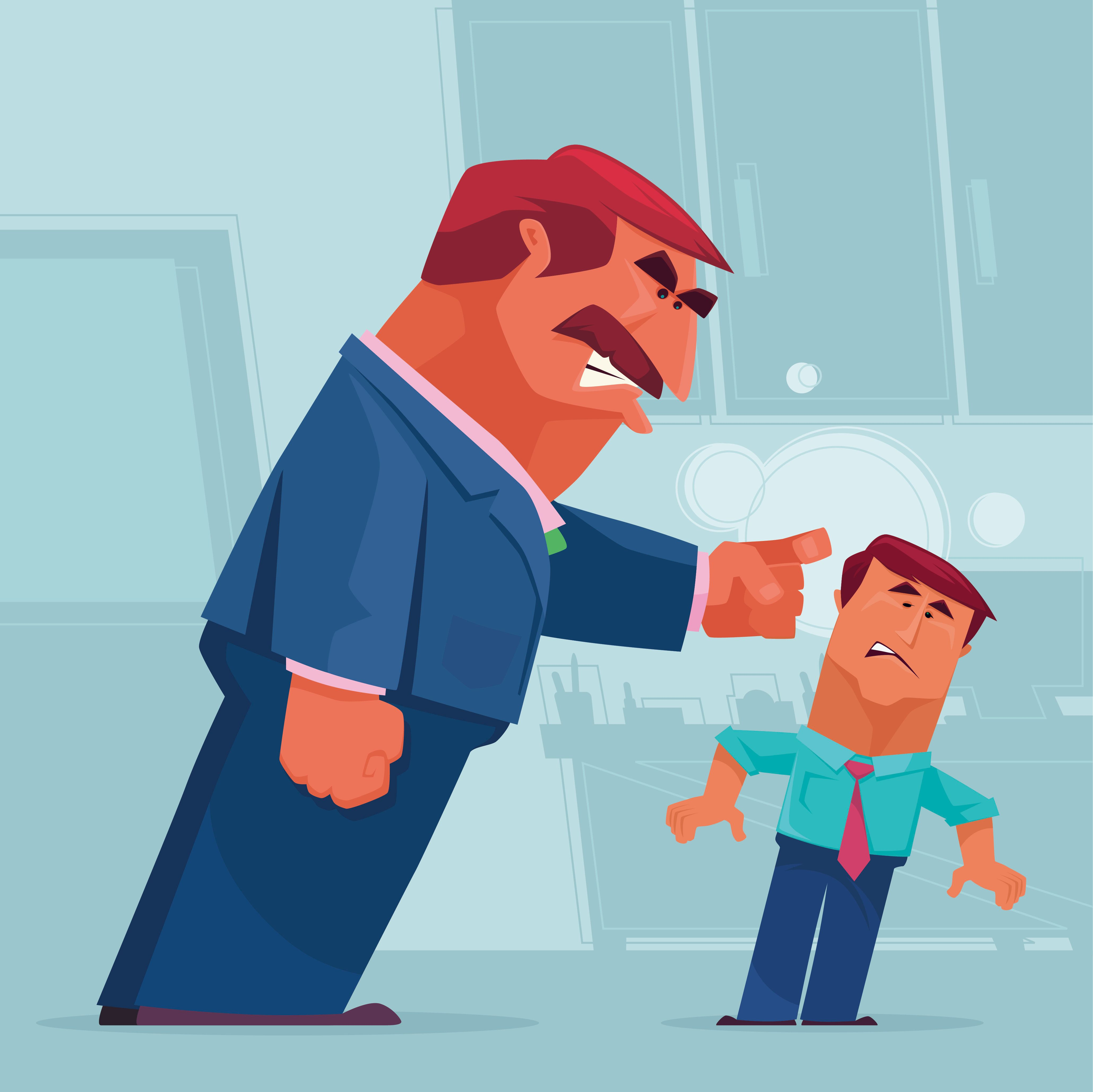 vector illustration of angry boss knocking his staff head and blaming….
