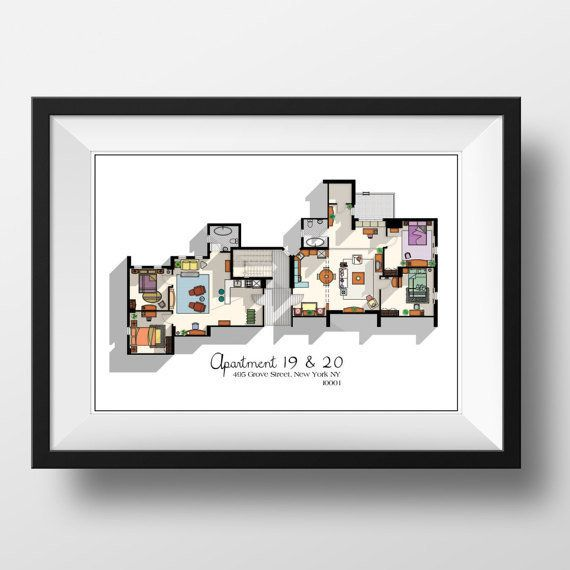 "Apartment floor plan, $19.99,&nbsp;<a href=""https://www.etsy.com/listing/222870822/friends-tv-show-apartment-floor-plan?ga_or"