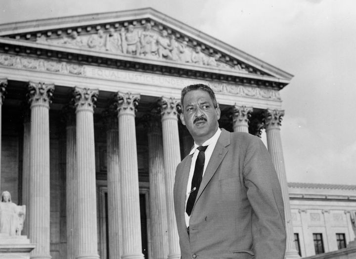 This file photo shows Thurgood Marshall outside the Supreme Court in Washington. Marshall, the head of the NAACP's legal arm