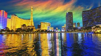 Reflections of illuminated Las Vegas skyline.