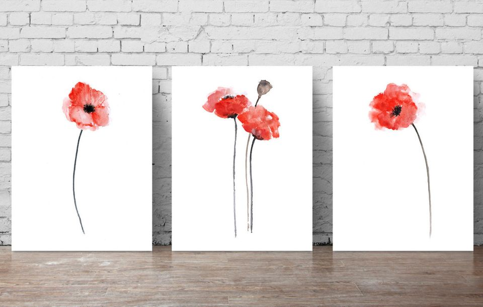 """$40 at <a href=""""https://www.etsy.com/listing/239418424/red-poppies-set-of-3-abstract-flower?ga_order=most_relevant&ga_sea"""