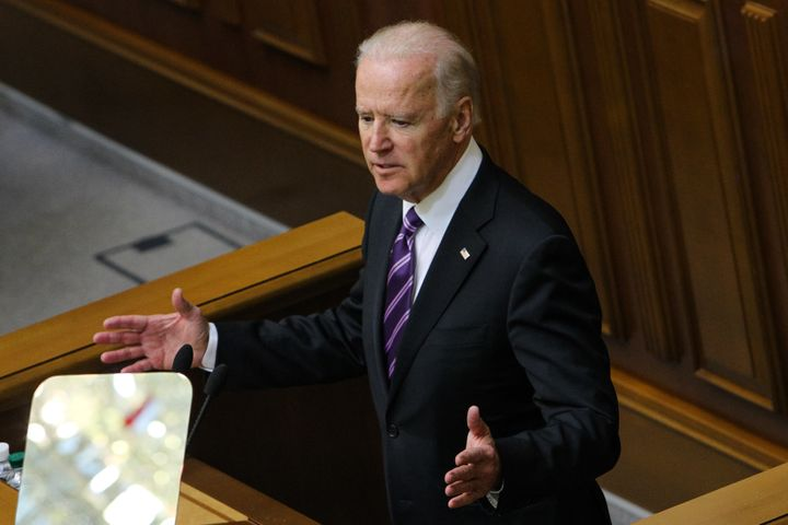 Vice President Joe Biden gestures as he speaks to the Ukrainian Parliament on Tuesday, Dec. 8, 2015, during his official visi