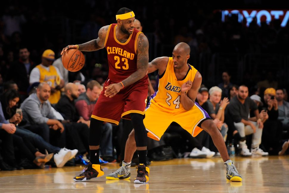 Two of the greatest players ever go head to head, as Bryant bodies up LeBron James on Jan. 15, 2015. The picture is strikingl