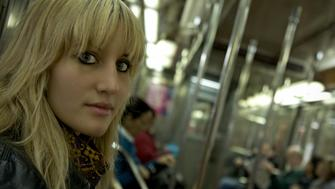 A girl in the NYC Subway