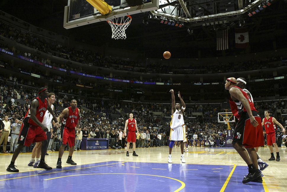 Bryant shoots a free throw for his 81st point against the Toronto Raptors on Jan. 22, 2006. His 81-point scoring to