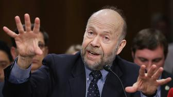 WASHINGTON, DC - MARCH 13:  Atmospheric physicist and Columbia University Earth Institute adjunct professor James Hansen testifies before the Senate Foreign Relations Committee during a hearing about the proposed Keystone XL pipeline project in the Dirksen Senate Office Building on Capitol Hill March 13, 2014 in Washington, DC. The committee heard testimony from proponents and opponents of the pipeline, which would carry tar sands oil from Canada to the United States for production and refinery. (Photo by Chip Somodevilla/Getty Images)
