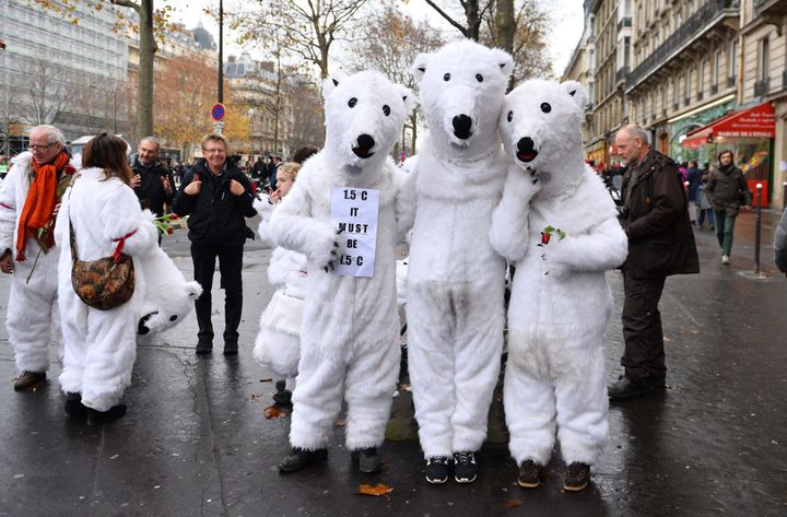People wear polar bear costumes during an activist demonstration near the Arc de Triomphe at the Avenue de la Grande Arm
