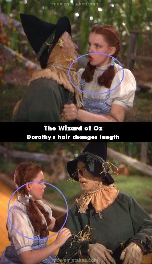 During the sequence where Dorothy meets the Scarecrow, her pigtails are first short (above her shoulders), but as the song pr