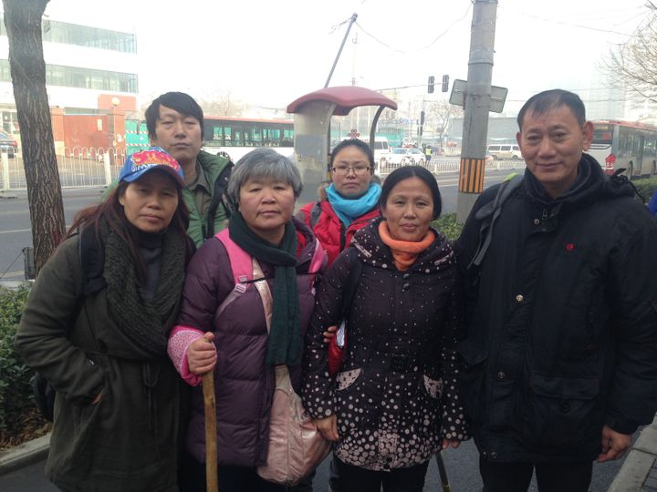 Ye Lina (second from right) and fellow supporters of Pu Zhiqiang gathered near the Beijing courthouse, where the human rights