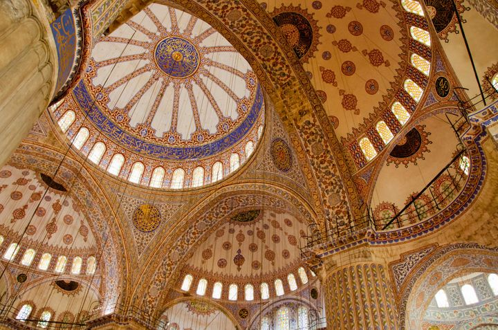The interior of the Sultan Ahmed Mosque in Istanbul, Turkey