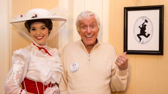 ANAHEIM, CALIFORNIA - DECEMBER 13: In this handout photo provided by Disney Parks, actor and Disney legend Dick Van Dyke and Mary Poppins celebrate his 90th birthday at Disneyland on December 13, 2015 in Anaheim, California. (Photo by Paul Hiffmeyer/Disney Parks via Getty Images)