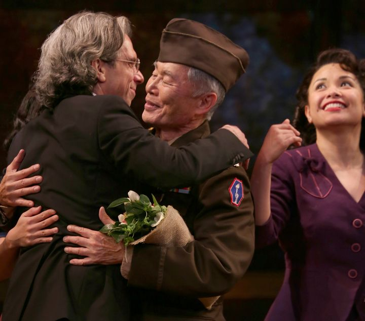 """Mark Acito and George Takei share a hug after the opening night of """"Allegiance."""""""