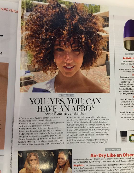 "In Allure's August issue, it presumably <a href=""http://www.huffingtonpost.com/entry/allure-afro-tutorial-outrage_55bf852ae4b"
