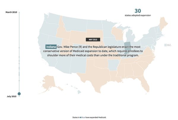 """""""A two-tiered health care system is taking deeper root in America. In mainly Republican-led, Southern states, the unins"""