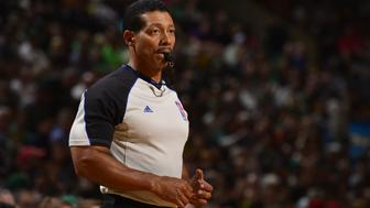 BOSTON, MA - APRIL 12: Referee Bill Kennedy stands on the court during a game between the Cleveland Cavaliers and Boston Celtics on April 12, 2015 at the TD Garden in Boston, Massachusetts. NOTE TO USER: User expressly acknowledges and agrees that, by downloading and or using this photograph, User is consenting to the terms and conditions of the Getty Images License Agreement. Mandatory Copyright Notice: Copyright 2015 NBAE (Photo by David Dow/NBAE via Getty Images)