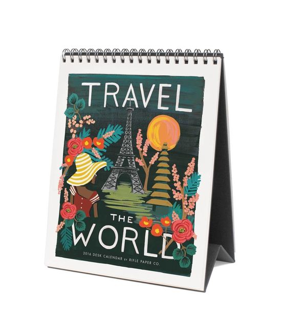 "2016 Travel the World Desk Calendar, $16 at <a href=""https://riflepaperco.com/2016-travel-the-world-desk-calendar/"" target=""_"