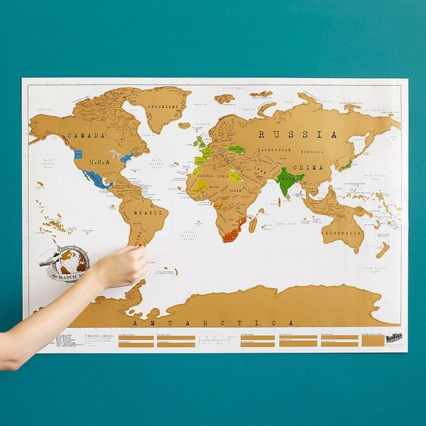 """Scratch Map, $28.95 at <a href=""""http://www.uncommongoods.com/product/scratch-map?country=US&gclid=CICi4u6P3MkCFQ0XHwodC6M"""