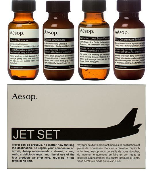 "Aesop Jet Set Kit, $37 at <a href=""http://www.aesop.com/usa/jet-set-kit.html?utm_source=product_listing_ad&utm_medium=cpc"
