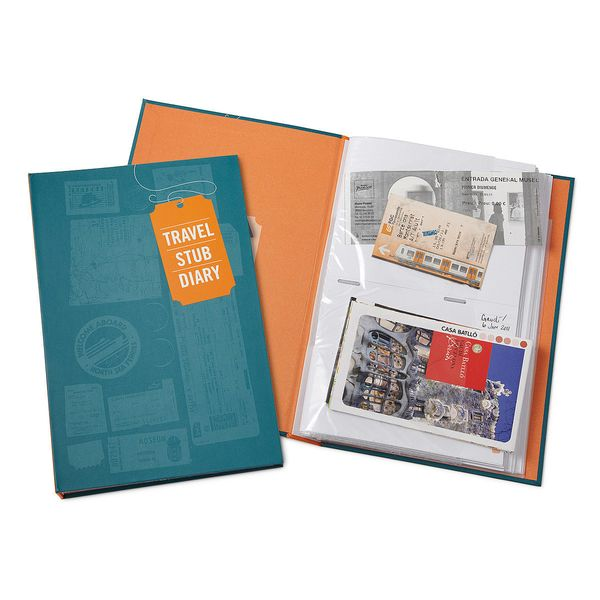 """Travel Stub Diary, $12 at <a href=""""http://www.uncommongoods.com/product/travel-stub-diary"""" target=""""_blank"""">Uncommon Goods</a>"""