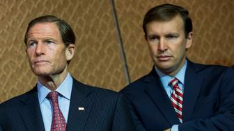 WASHINGTON, DC - JULY 28: L to R, Sen. Richard Blumenthal (D-CT) and Sen. Chris Murphy (D-CT) wait to speak during an event hosted by 'Everytown for Gun Safety' and 'Moms Demand Action for Gun Sense in America,' on Capitol Hill, July 28, 2015 in Washington, DC. Both groups who hosted the event are urging Congress to discuss potential legislation to expand background checks on gun sales. (Drew Angerer/Getty Images)