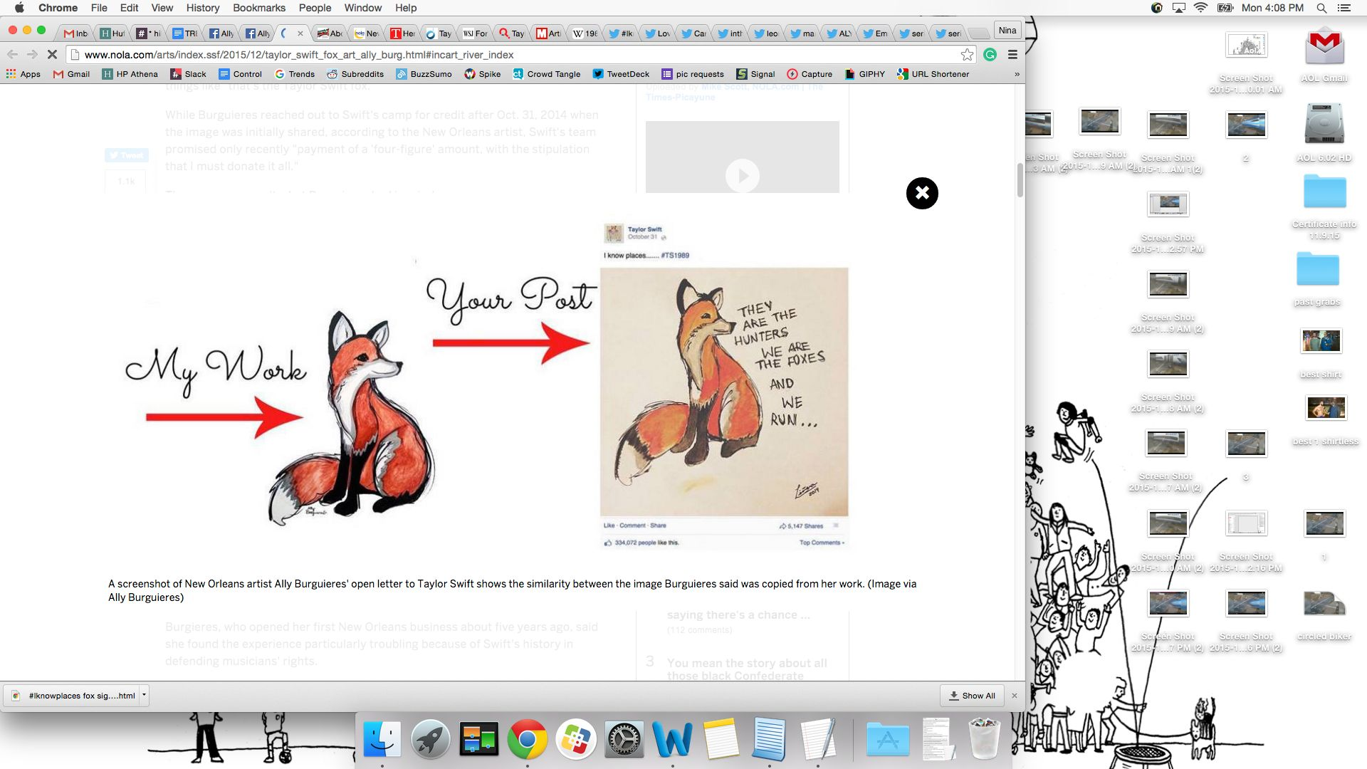Look familiar?Artist Ally Burguieres claims Taylor Swift used her artwork of this fox without her permission to promote