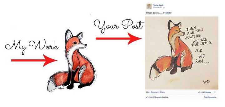 Look familiar? Artist Ally Burguieres claims Taylor Swift used her artwork of this fox without her permission to promote