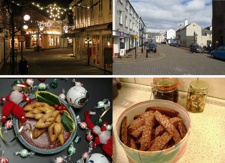 Photos on the left depict Christmas themes, while the control photos in the right column show normal scenes of everyday life.