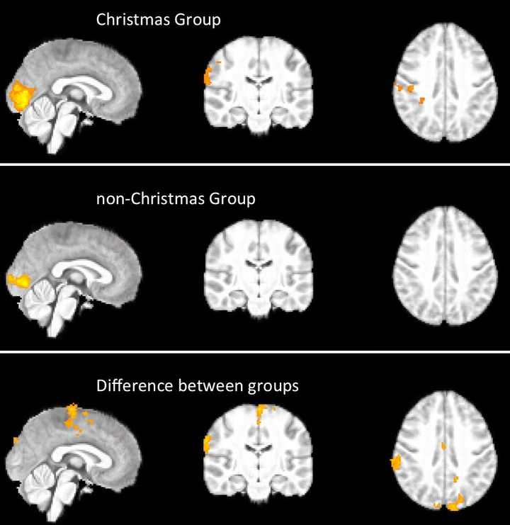 This graphic shows the differences between the brains of those who celebrate Christmas and those who don't, when presented with Christmas visuals.