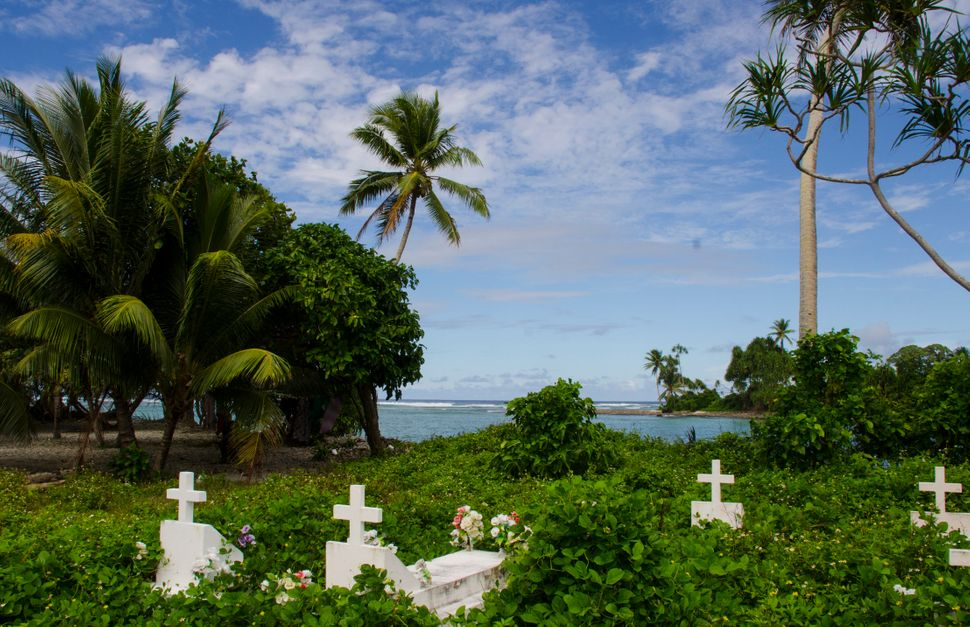 A cemetery on Ejit, Marshall Islands.