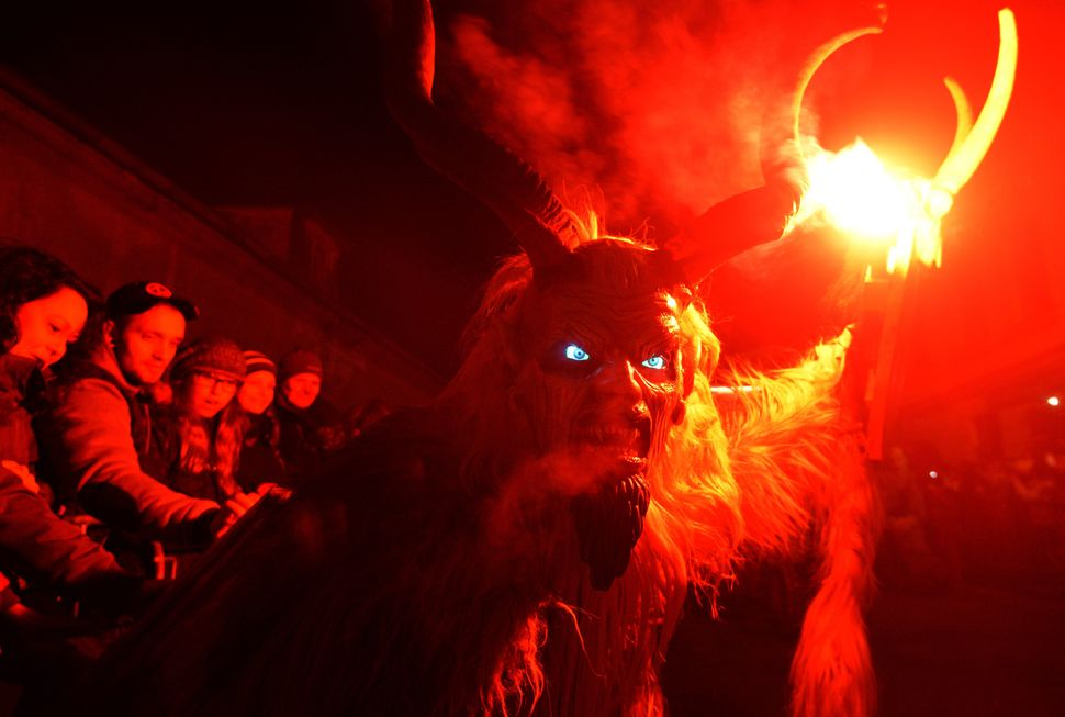Some of the Krampus costumes are quite elaborate, like this one at a festival inKaplice, Czech Republic.