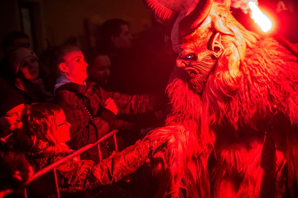 """Krampus"" terrifies onlookers at a Krampus festival in Kaplice, Czech Republic."