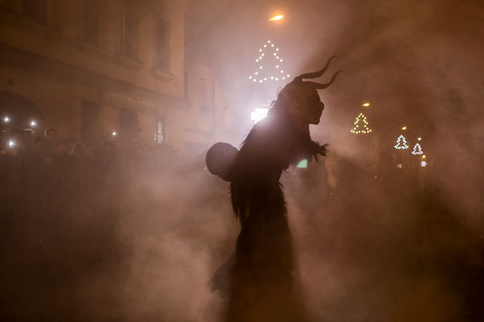A Krampus looking downright creepy in the Czech Republic.