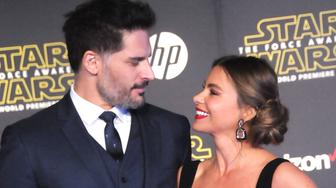 HOLLYWOOD, CA - DECEMBER 14:  (L-R) Actor Joe Manganiello and actress Sofia Vergara attend the Premiere of Walt Disney Pictures and Lucasfilm's 'Star Wars: The Force Awakens' on December 14, 2015 in Hollywood, California.  (Photo by Barry King/WireImage)