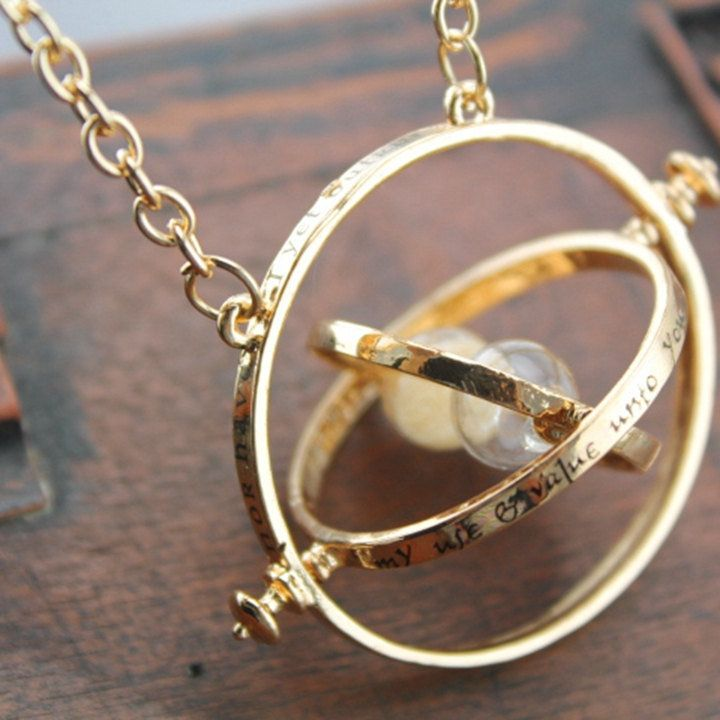 "Time Turner Necklace, $8 at <a href=""https://www.etsy.com/listing/237797699/hourglass-time-necklace-harry-potter?utm_source=g"
