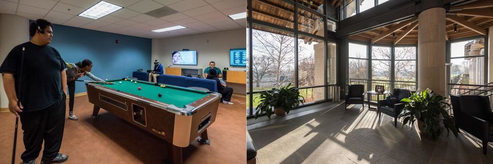 Game room at Capital Community College (left) and waiting room for the admissions office at Trinity College (right)
